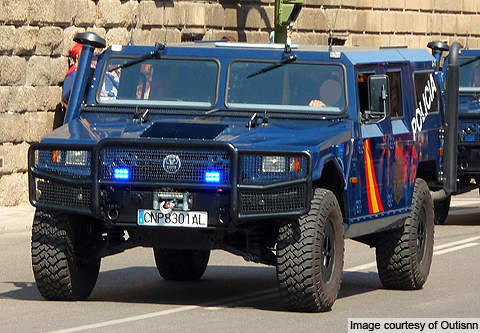 A police variant of the vehicle, which is used for reconnaissance, command and control, fire support and tactical transport missions.