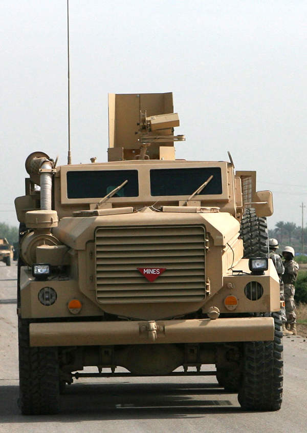 The Cougar Hardened Engineer Vehicle of the US Marine Corps operating in Iraq. US Army photo by Cpl. William Skelton.