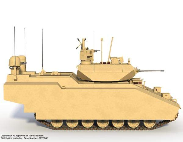 A graphical image depicting the right side of the Ground Combat Vehicle (GCV). Image courtesy of BAE Systems.