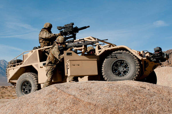 The Flyer tactical wheeled vehicle is equipped with a ring mount weapon system. Image courtesy of General Dynamics Ordnance and Tactical Systems.