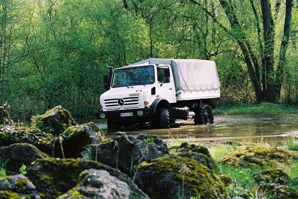 Mercedes-Benz's Unimog U 4000 truck is ideal for operations on difficult terrains, including up to 1.2m deep water.