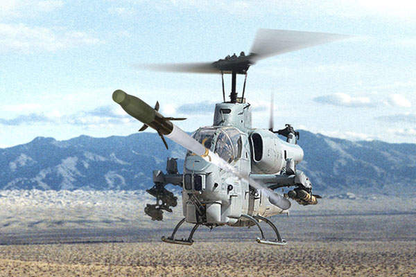 The APKWS rocket was launched from the US Marine Corps' AH-1W Super Cobra helicopter in September 2007. Image courtesy of BAE Systems.