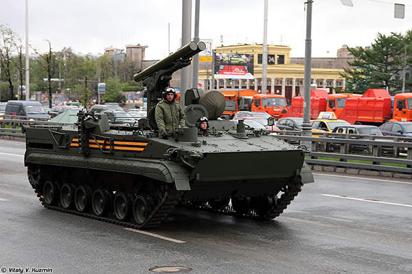 Khrizantema-S ATGW missile system mounted on a 9P157-2 combat vehicle took part in the 2014 Victory Day Parade in Moscow. Image courtesy of Vitaly V. Kuzmin.