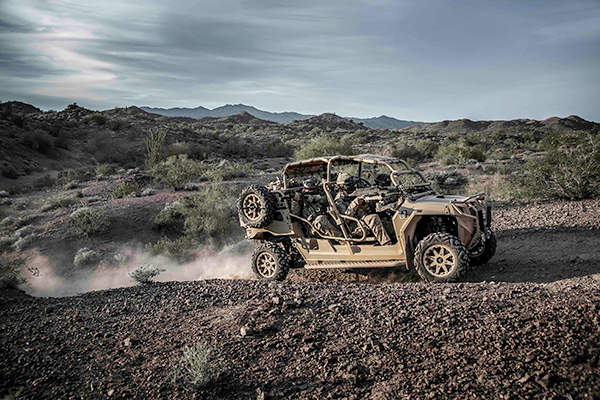 Side profile of the Polaris MRZR 4 all-terrain vehicle. Image courtesy of Polaris Industries Inc.