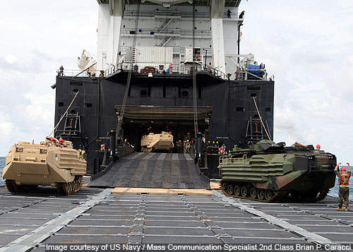 Marine Amphibious Assault Vehicles (AAV) roll down the ramp of the Military Sealift Command Marine Corps roll-on roll-off ship USNS 1st Lt Baldomero Lopez (T-AK 3010)