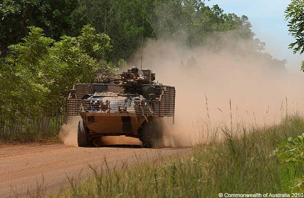 The Australian light armoured vehicle has a top road speed of 100km/h.