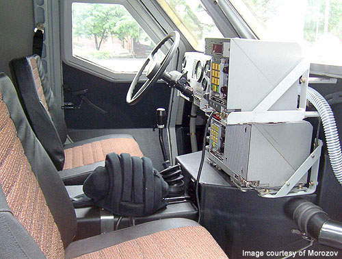 The vehicle controls, navigation equipment and communication devices in the driver's station.