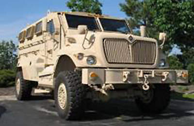 A large military vehicle fitted with Kidde fire extinguishing systems