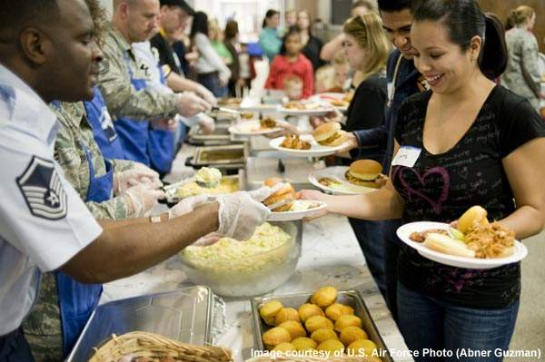 A family dinner at the Joint Base Lewis-McChord chapel support centre.