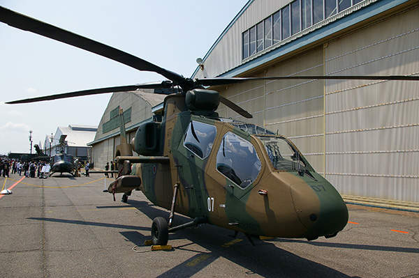 An OH-1 helicopter on display at Camp Kasumigaura of the Japan Ground Self-Defence Force (JGSDF).