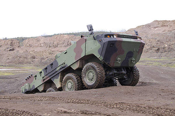 The ARMA 8x8 armoured vehicle can climb a gradient of 60%.