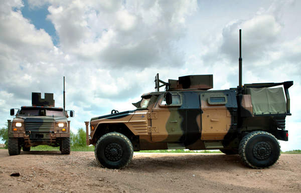 The front and side views of two right hand operating JLTV vehicles delivered to the Australian Army. Image courtesy of Lockheed Martin.