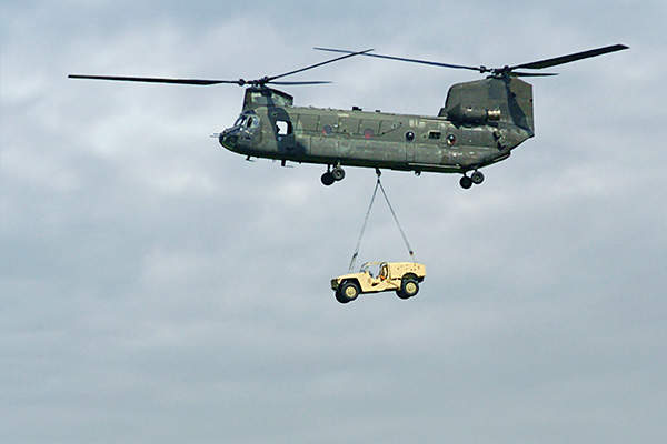 The Phantom Badger vehicle being lifted by a Chinook helicopter. Image: courtesy of Boeing Phantom Works.