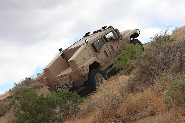 A Saratoga vehicle climbing in a hilly terrain during a mobility demonstration exercise. Image courtesy of Navistar Defense.