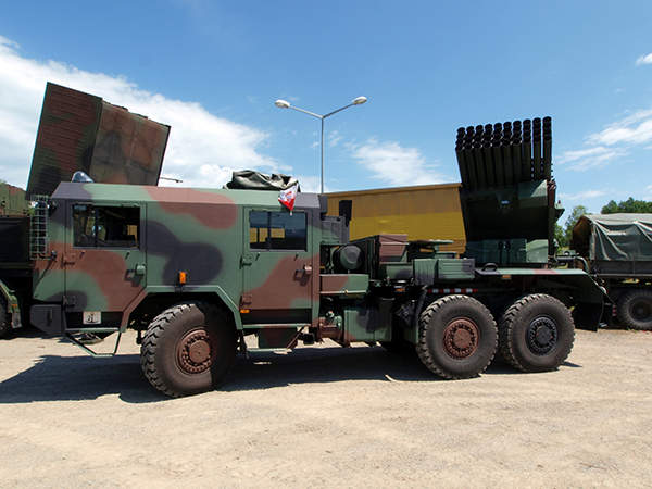 A side view of the Langusta WR-40 multiple launch rocket system (MLRS).