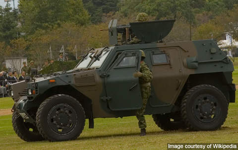 The JGSDF Komatsu LAV fitted with roof mounted weapon station.