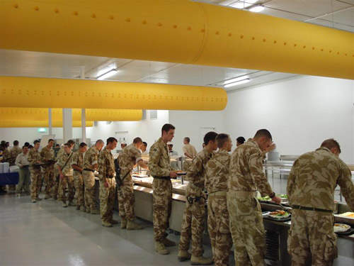 Troops lining up for food