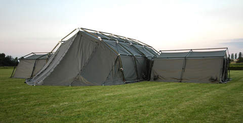 Lowered entrance tent in a field