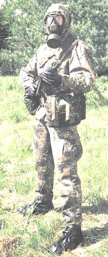 Soldier wearing IdZ included NBC equipment