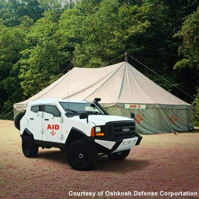 The Oshkosh SandCat vehicle is also configurable to an ambulance variant with three litters.