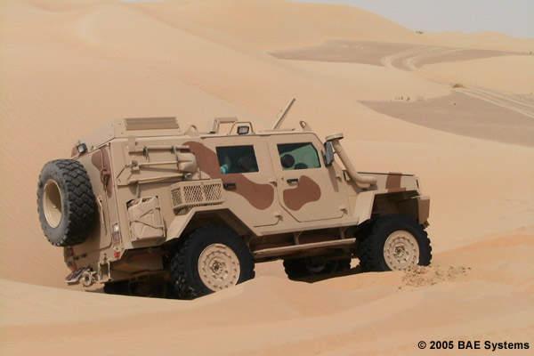 RG32M mine hardened patrol vehicle in the desert.
