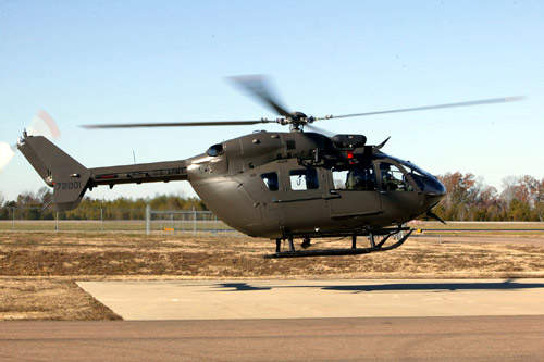 The UH-72A Lakota has an externally mounted rescue electric hoist, mounted on a boom and support assembly for operational flexibility.