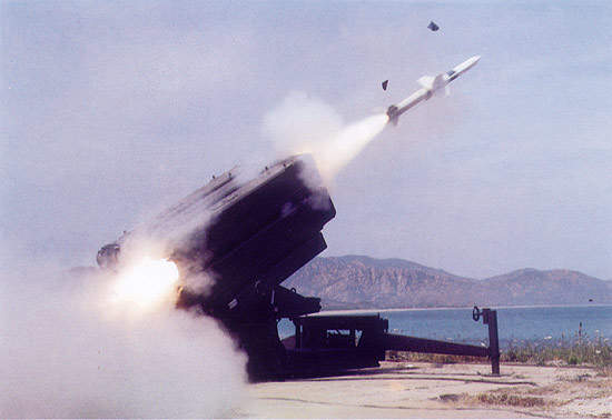 The Spada 2000 air defence missile system shortly after being fired.