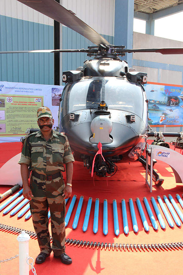 HAL Rudra attack helicopter displayed along with its weapon systems. Image courtesy of Mandeepsandhu.