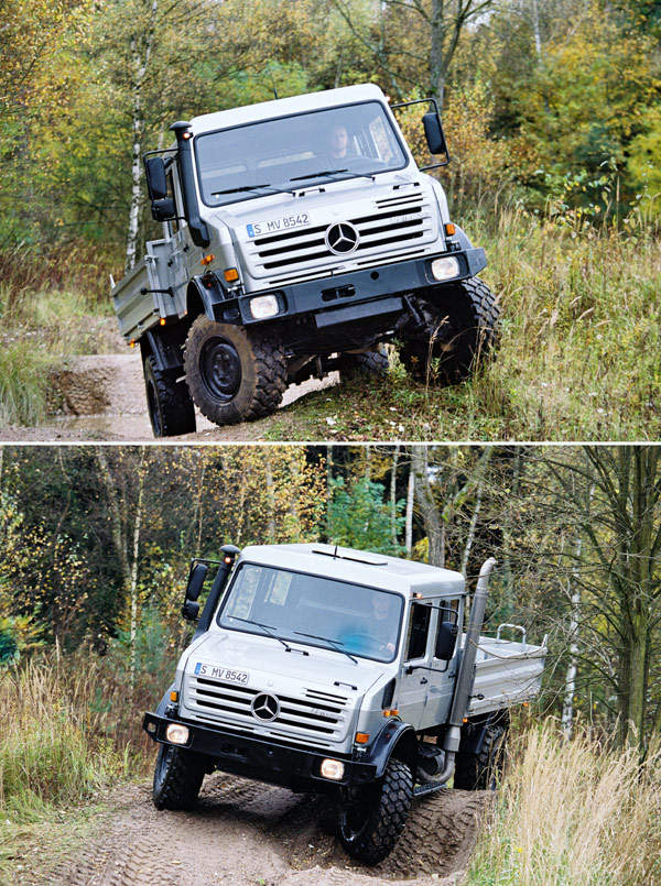 The Unimog U 4000 truck can operate on terrains of up to 45 degrees in terms of slope.