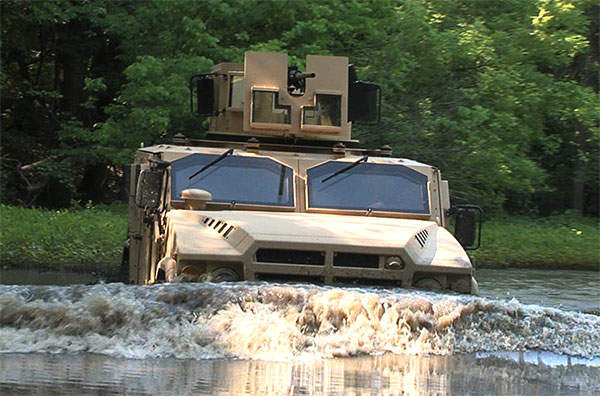 A BRV-O vehicle demonstrating its fording capability.