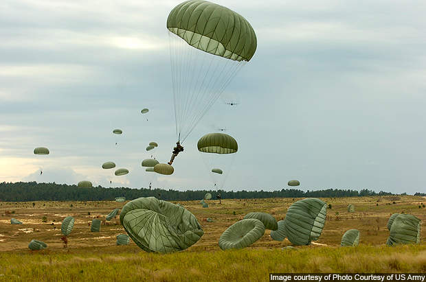 About 10,000 parachute jumps are conducted every year at Fort Bragg.