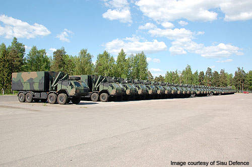 The Finnish Defence Forces received 60 Sisu 8x8 military trucks in May 2010.