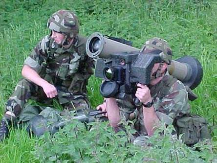 Two soldiers operating the Javelin missile system