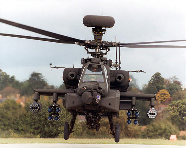 A British Army Apache AH Mk1 helicopter armed with Boeing M230 30mm chain gun, Hellfire air-to-surface missiles and 38 CRV-7 80mm rockets.