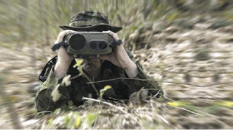 Sagem JIM MR medium-range multi-function binoculars in use