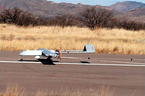 Unmanned aircraft device landing using convential wheeled method