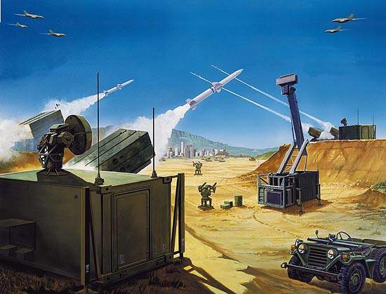 Artist's impression of the Spada 2000 air defence missile system.