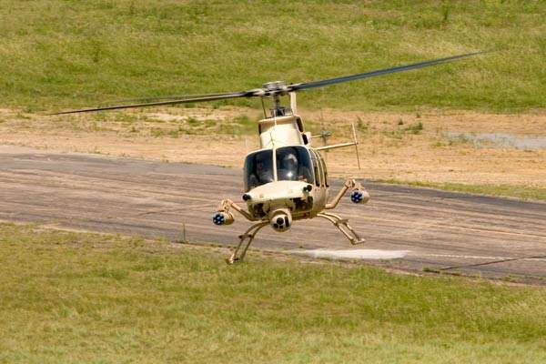 The light attack ARH-70 helicopter undertaking reconnaissance