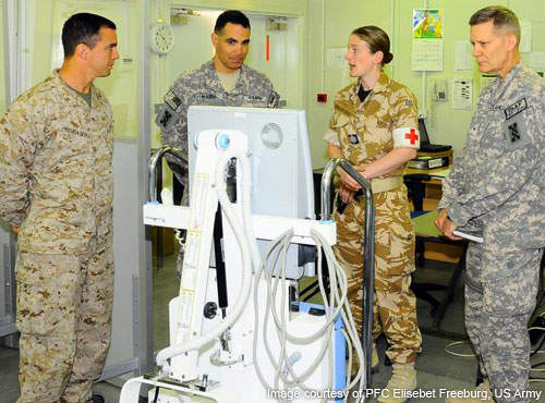 JSC-A leaders examine equipment at Camp Bastion in Afghanistan.