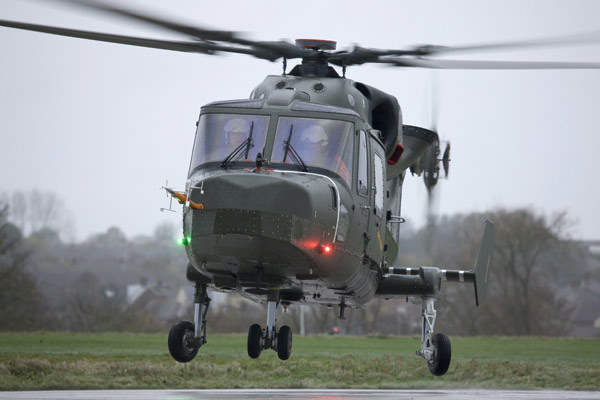Flight testing of the AW159 Lynx Wildcat helicopter. The AW159 Lynx Wildcat is based on an upgraded version of the Lynx helicopter.