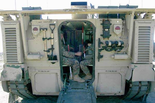 The rear hatch of the EFV.