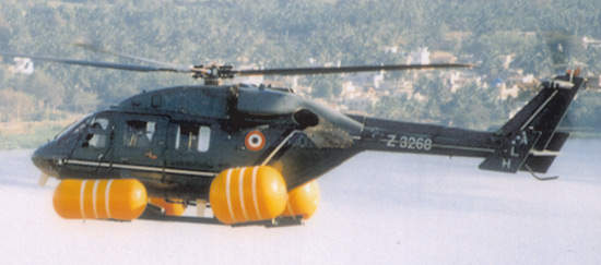 Indian Air Force Dhruv helicopter fitted with flotation bags.