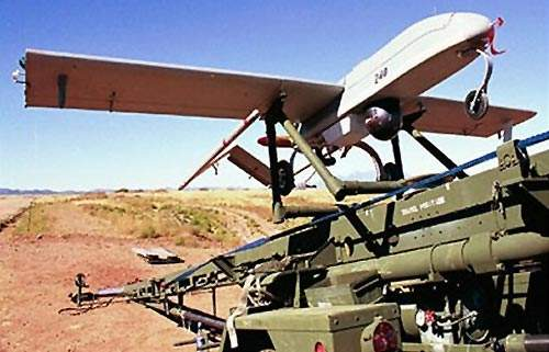 Shadow 200 unmanned aircraft system on launching platform