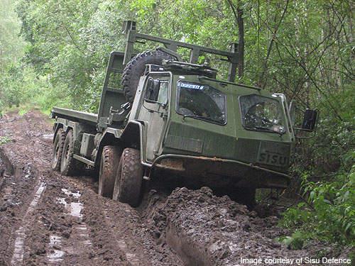 The truck in a muddy terrain.