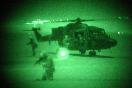 Army Lynx viewed with image intensifier at night
