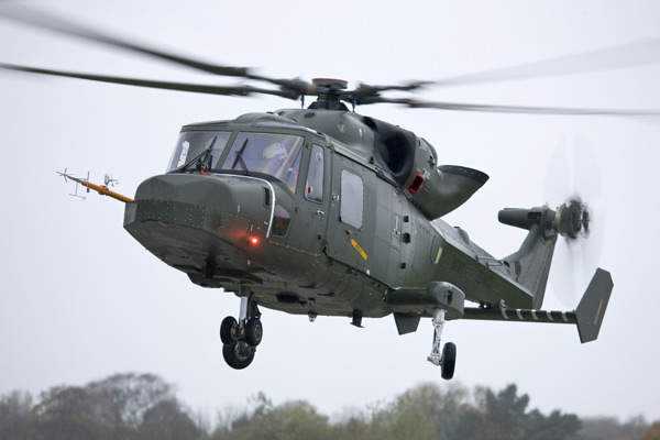 The AW159 Lynx Wildcat completing its first flight at AugustaWestland's Yeovil facility.