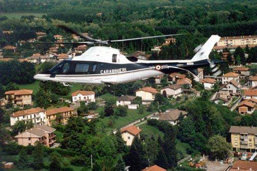 The A109M is a military version of the A109 Power family of civil helicopters. Shown here is a law enforcement version in service with the Carabinieri of Italy.