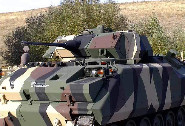 The ACV-S fitted with the two person Bradley Infantry Fighting Vehicle turret designed by United Defense (now BAE Systems Land and Armaments).