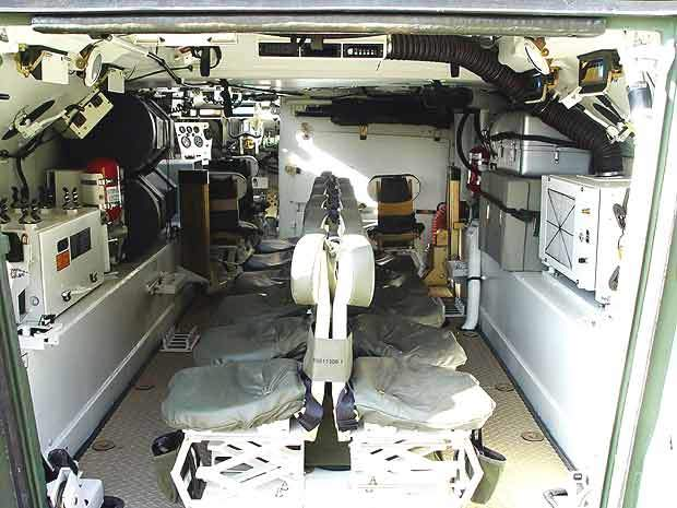 Interior of an ACV squad vehicle