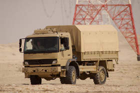 A Mercedes military truck in the desert